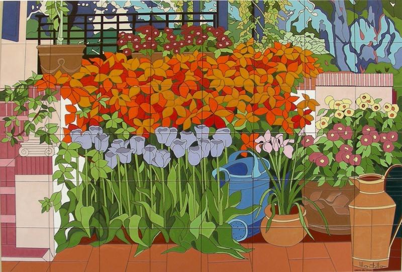 Murales con motivos florales murales de cer mica tiles for Como pintar un mural exterior