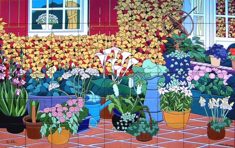 Murales con motivos florales murales de cer mica tiles for Murales de fotos para pared