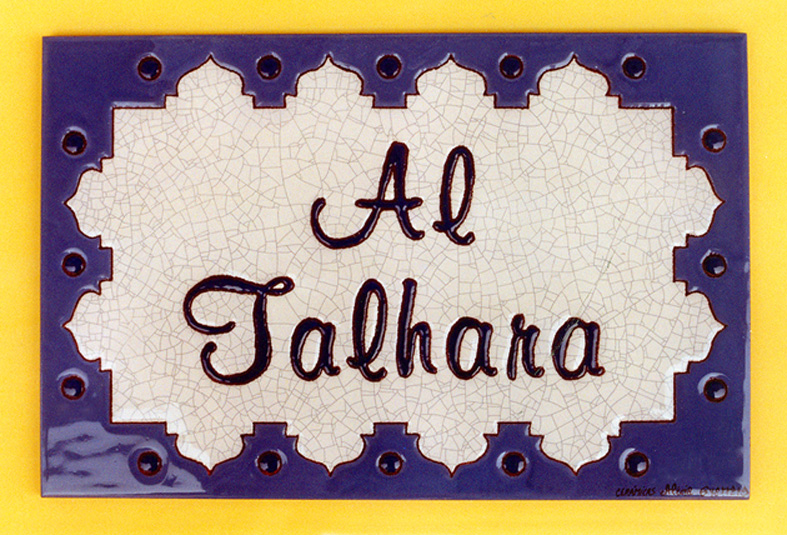 Names of houses in ceramic glazed plates or tiles