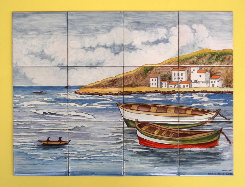 Marine decorative ceramic mural with handcraft glazed for Ceramic mural making