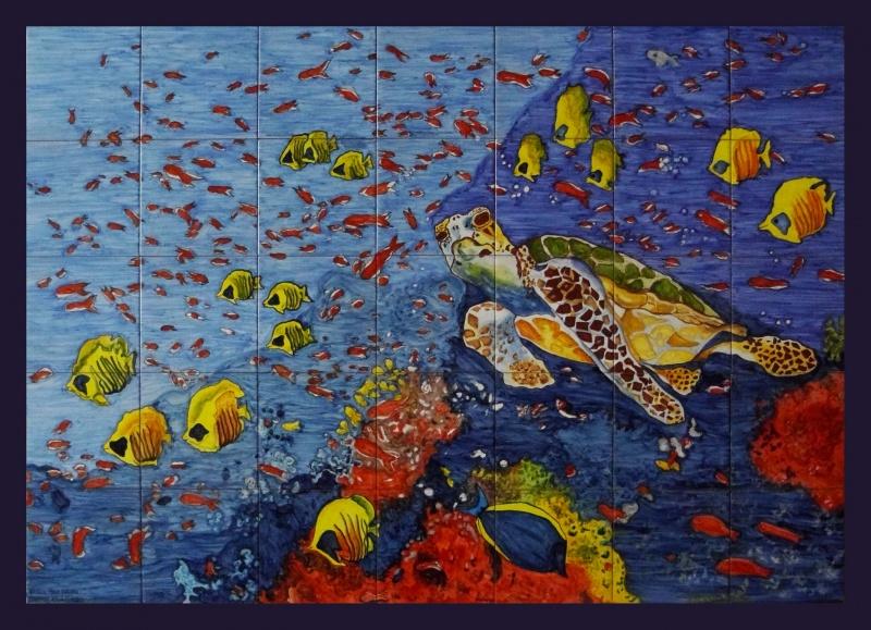 Murales cer micos con motivos marinos murales de cer mica Pintar azulejos a mano