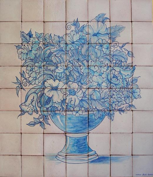 Bodegones de cer mica murales de cer mica tiles and - Azulejos con flores ...