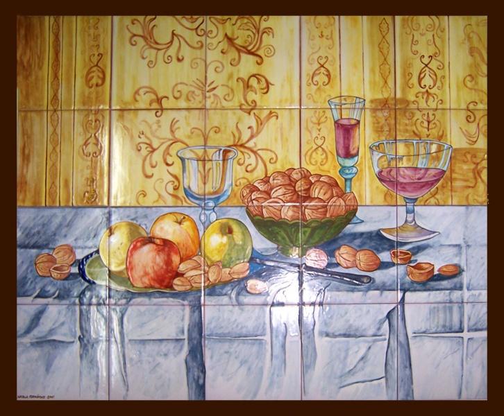 Bodegones de cer mica murales de cer mica tiles and - Azulejos pintados cocina ...