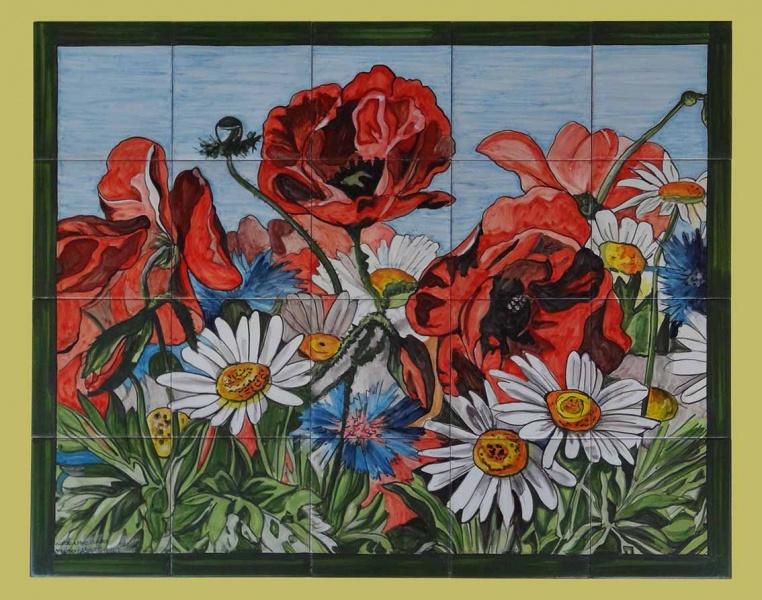Murales con motivos florales murales de cer mica tiles for Oxidos para ceramica