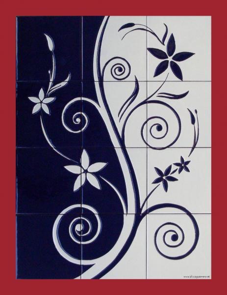 Murales con motivos florales murales de cer mica tiles - Murales pintados en la pared ...