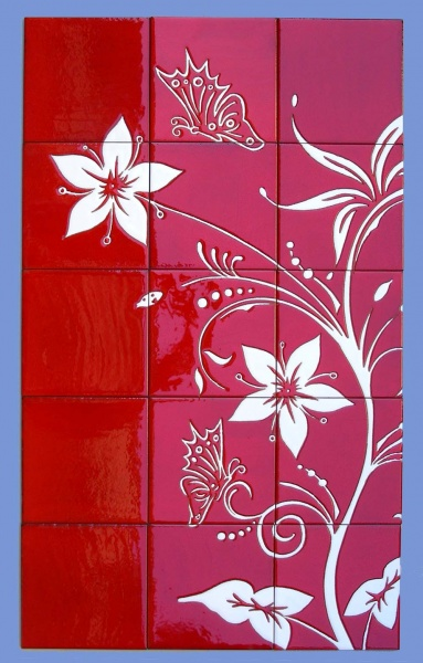 Murales con motivos florales murales de cer mica tiles for Mural de flores y mariposas