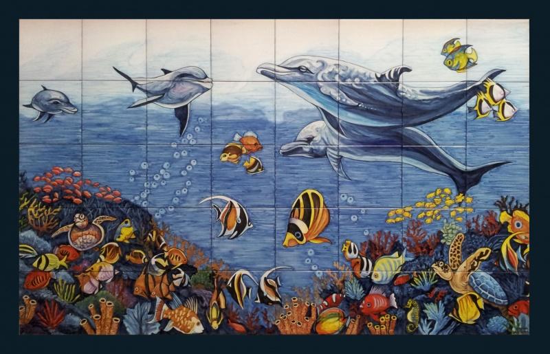 Murales cer micos con motivos marinos murales de cer mica tiles and murals of ceramic - Murales de azulejos ...