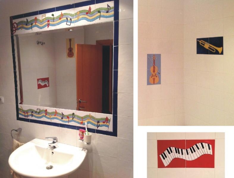 Azulejos Baño Sueltos:espejo de azulejos de cerámica y azulejos sueltos modelo amapolas
